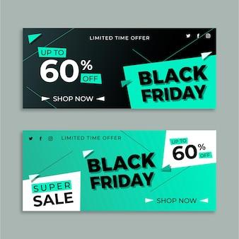 Pack de bannières vendredi noir design plat