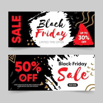 Pack de bannières vendredi noir dessiné à la main