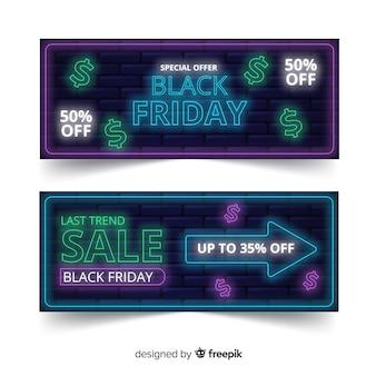 Pack de bannières de vendredi noir néon
