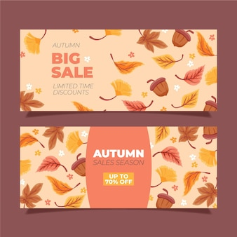 Pack de bannières de vente automne dessinés à la main