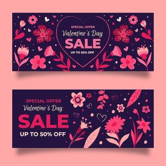 Pack de bannières de vente dessinés pour la saint-valentin
