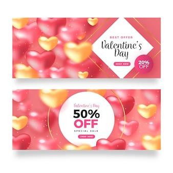 Pack de bannières de vente réalistes pour la saint-valentin