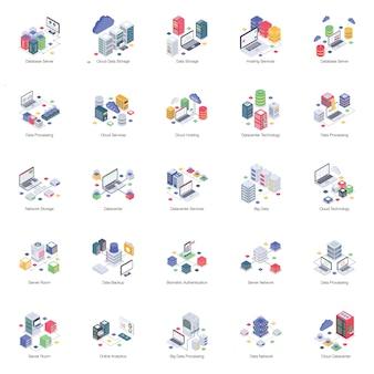 Un pack de base de données d'hébergement isométrique