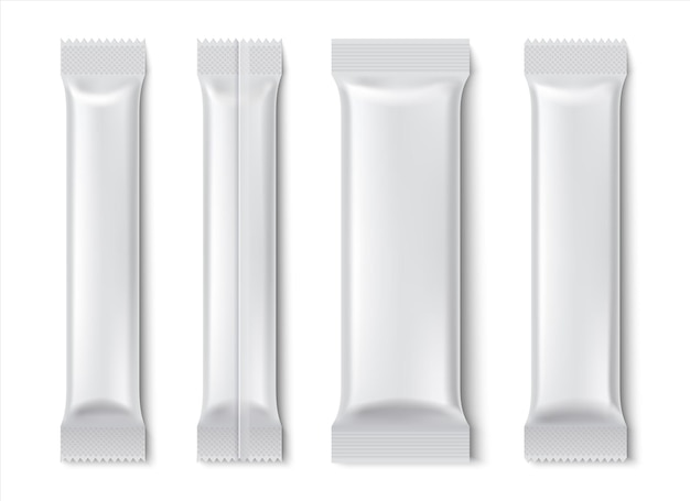 Pack de bâton. maquette de paquet de sachet vide pour café et thé isolé sur blanc, pack de produits alimentaires en papier
