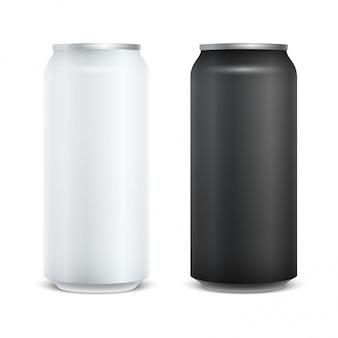 Pack de bière vide en aluminium blanc brillant.