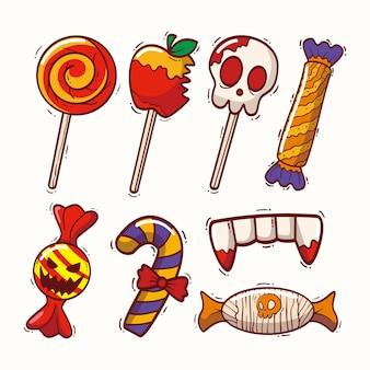 Pack de bonbons halloween design dessiné à la main