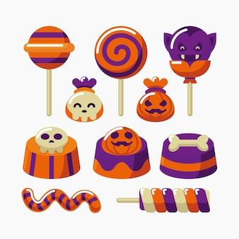 Pack de bonbons d'halloween design plat