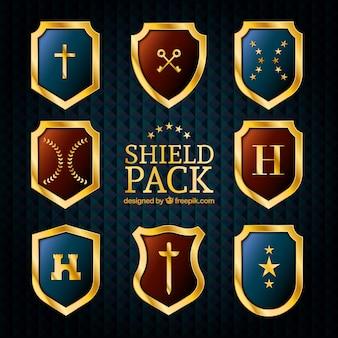 Pack de boucliers d'or élégant
