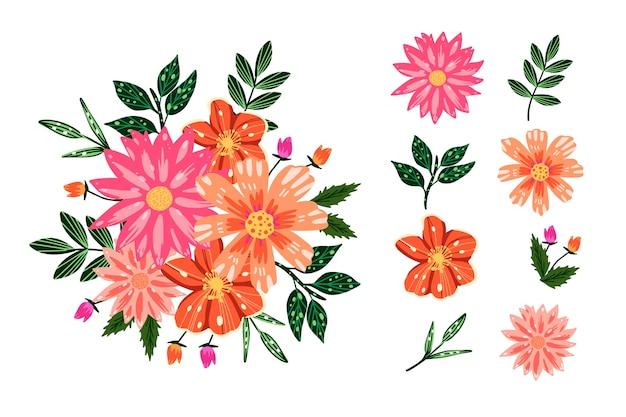 Pack de bouquet floral coloré en 2d
