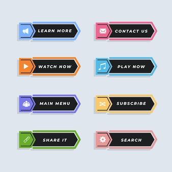 Pack de boutons d'appel à l'action design plat
