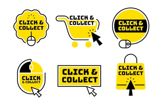 Pack de boutons de clic et de collecte créatifs