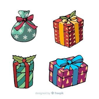 Pack de cadeaux de noël dessinés à la main