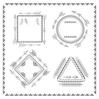 Pack de cadre boho dessiné à la main