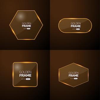Pack de cadre doré avec effet de lumière.