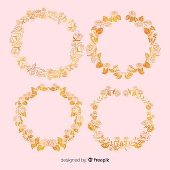 Pack cadre floral doré