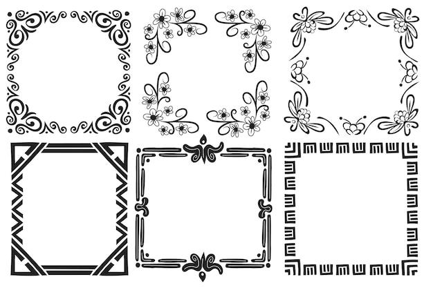 Pack de cadre ornemental élégant dessiné à la main