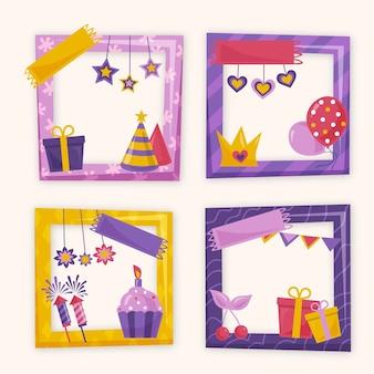 Pack de cadres de collage d'anniversaire dessinés à la main