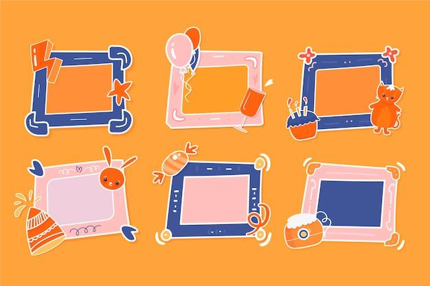 Pack de cadres de collage d'anniversaire dessinés