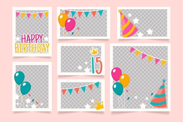 Pack de cadres de collage d'anniversaire plat