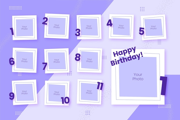 Pack De Cadres De Collage D'anniversaire Vecteur gratuit