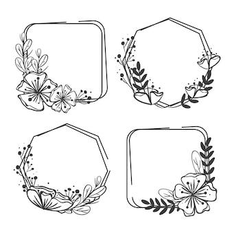 Pack de cadres floraux dessinés