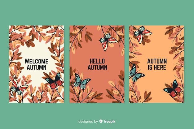Pack de carte d'automne plat