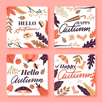 Pack de cartes automne design plat