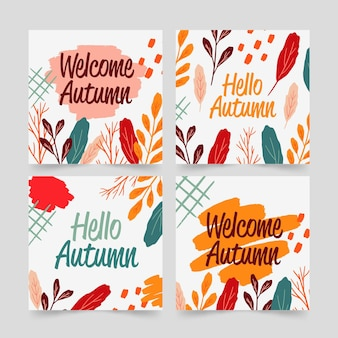 Pack de cartes d'automne dessinés à la main