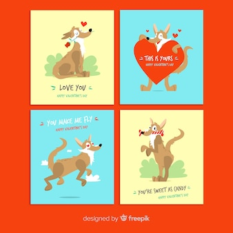 Pack de cartes chien saint valentin