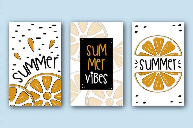 Pack de cartes d'été avec des oranges