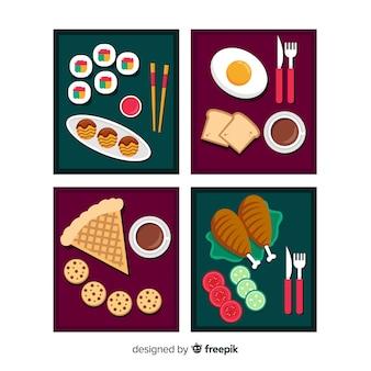Pack de cartes de nourriture plat