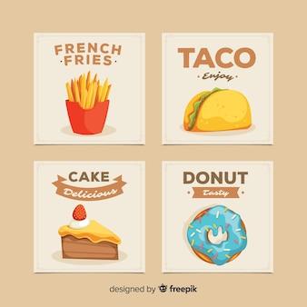 Pack de cartes de plats savoureux