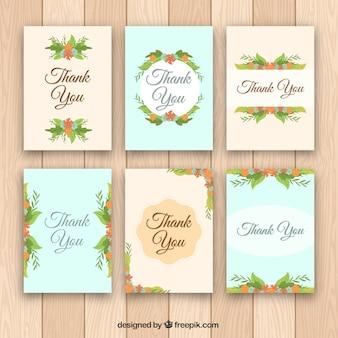 Pack de cartes de remerciement vintage avec décoration florale