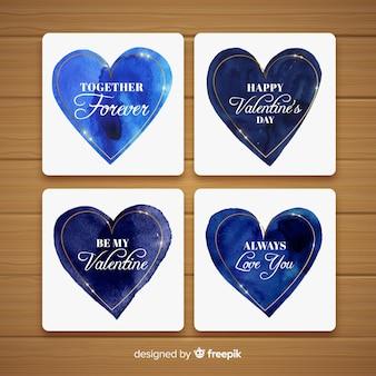 Pack de cartes saint valentin coeurs aquarelle