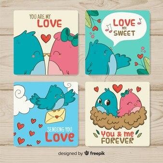 Pack de cartes de saint valentin oiseaux dessinés à la main