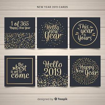 Pack de cartes de texte doré du nouvel an