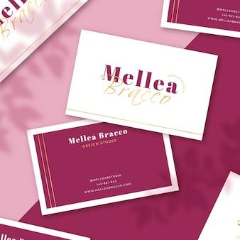 Pack de cartes de visite en or minimal avec formes de texte