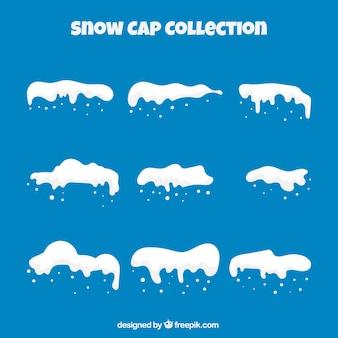Pack de casquette de neige sur fond bleu