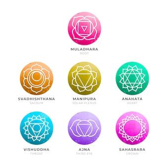 Pack de chakras colorés