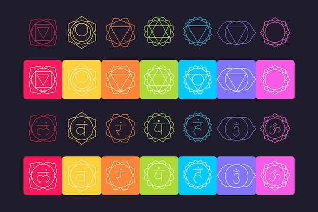 Pack de chakras colorés