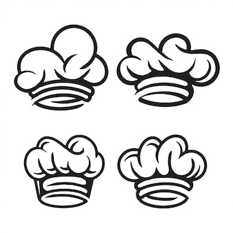 Pack de chapeaux de chef dessinés à la main