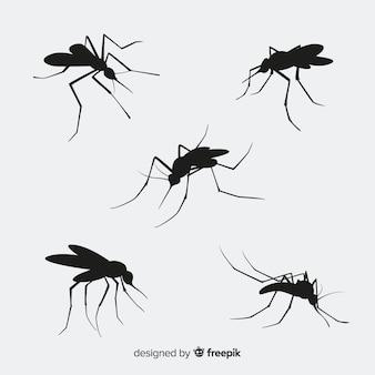 Pack de cinq silhouettes de moustiques
