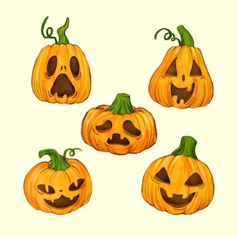 Pack de citrouille d'halloween design aquarelle