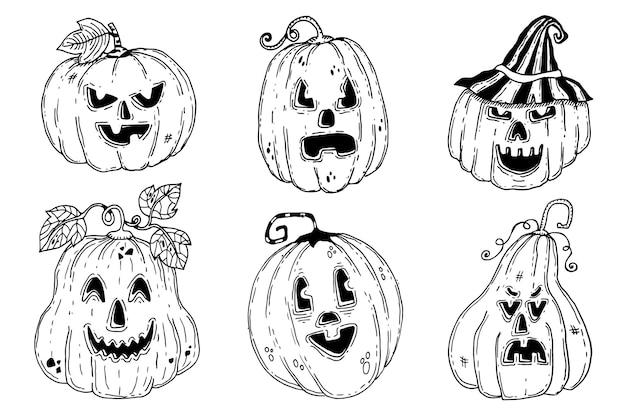 Pack de citrouilles d'halloween dessinés à la main