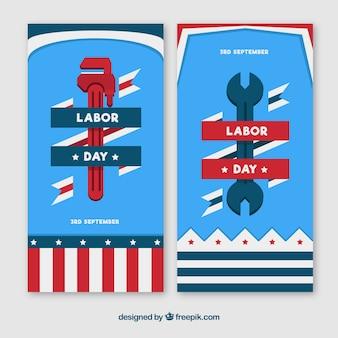 Pack classique de bannières de la fête du travail avec un design plat