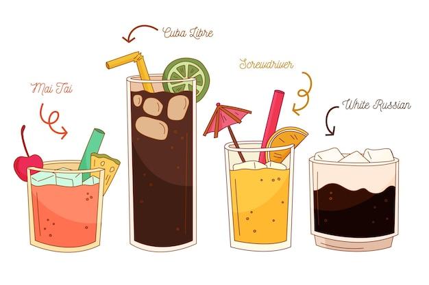 Pack de cocktails dessinés à la main