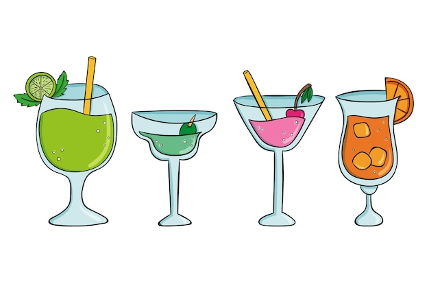 Pack de cocktails d'été dessinés à la main