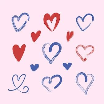 Pack coeur design dessiné à la main