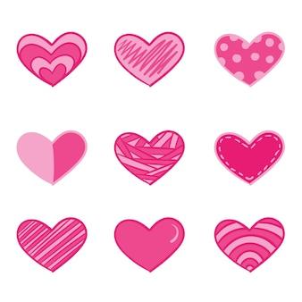 Pack de coeur de style dessiné à la main