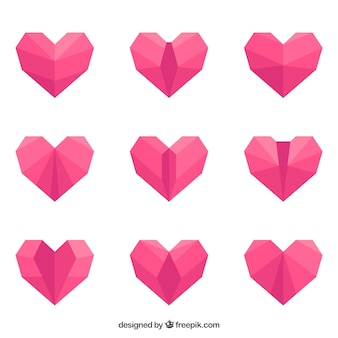 Pack de coeurs roses en origami design plat